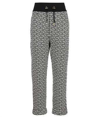 Balmain WF1OB000J193 BICOLOR KNIT MONOGRAM JACQUARD BOYFRIEND CUT Trousers