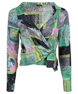 Versace A88213 1F00456 BAROCCO PATCHWORK PRINT CROPPED SILK Shirt