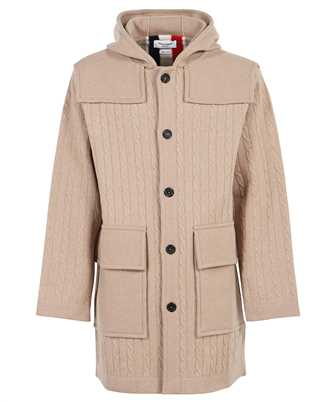 Thom Browne MKJ070A Y1019 BOILED CABLE KNIT HOODED DUFFLE Coat