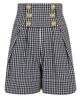 Balmain VF15026C276 HIGH WAIST 6 BTN GINGHAM Shorts