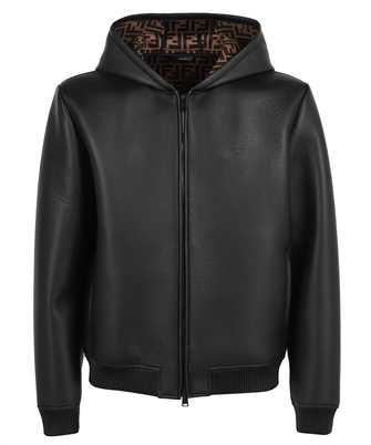 Fendi FPJ046 A4C6 BONDED LEATHER FF Jacket