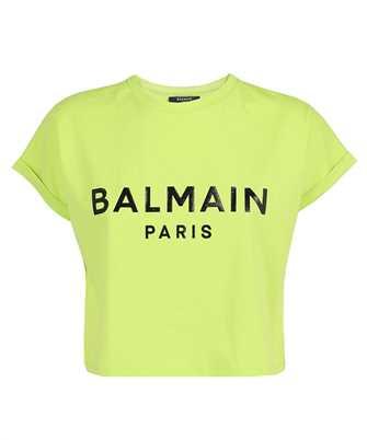 Balmain VF0EE005B035 CROPPED PRINTED LOGO T-shirt