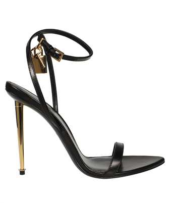 Tom Ford W2272T LKD002 SHINY LEATHER PADLOCK POINTY NAKED 105MM Sandals