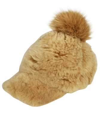 Karl Donoghue CMFPCW1 CASHMERE TOUCH SHEARLING WITH FOX FUR POM Cap