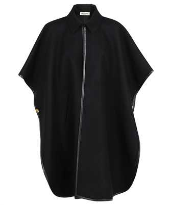 Saint Laurent 661166 Y143V CASHMERE WITH LEATHER PIPING Cape