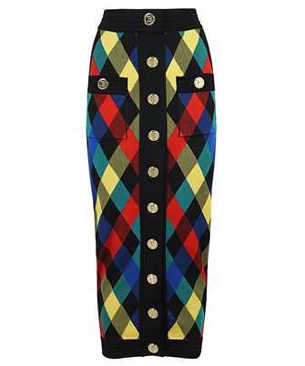 Balmain VF14484K235 BUTTONED GINGHAM JACQUARD MIDI Skirt