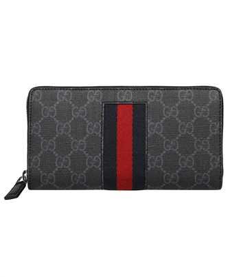 Gucci 408831 KHN4N GG SUPREME WEB ZIP AROUND Wallet