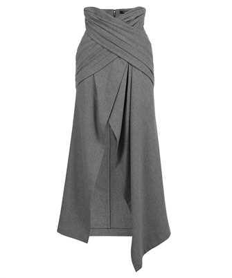 Balmain VF0LE025W128 LONG ASYMMETRIC DRAPED FLANNEL Skirt