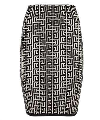 Balmain VF0LC001K253 KNEE-LENGTH MONOGRAM JACQUARD Skirt