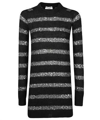 Saint Laurent 637737 YAVD2 SEQUIN-STRIPED KNIT SWEATER Šaty