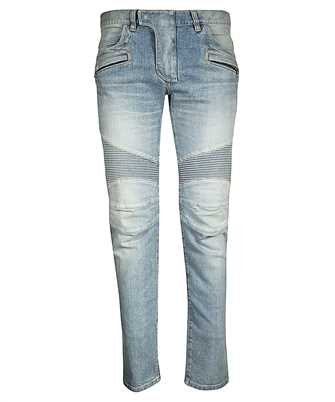 Balmain RH15551Z003 TAPERED BLEACH BIKER Jeans