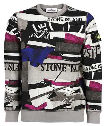 Stone Island 63087 BRUSHED COTTON MIXED MEDIA ALL OVER PRINT Sweatshirt