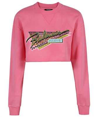 Balmain VF13651B509 CROPPED EMBROIDERED TIE-DYE Sweatshirt