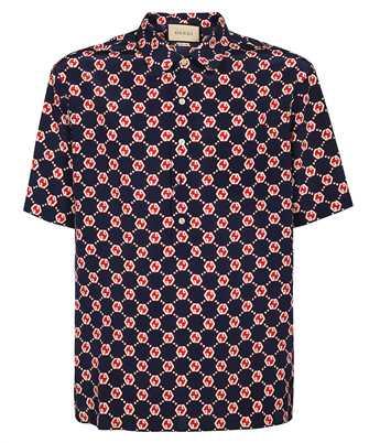 Gucci 654887 ZAF9W GG HEXAGON SILK CREPE BOWLING Shirt