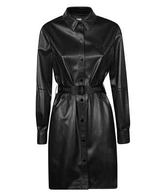 Karl Lagerfeld 210W1309 FAUX-LEATHER LONG-SLEEVED SHIRT Dress