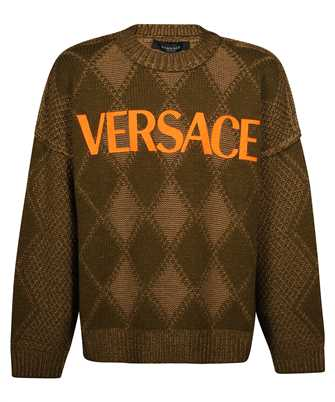 Versace 1000799 1A01165 LOGO ARGYLE WOOL & ALPACA Knit
