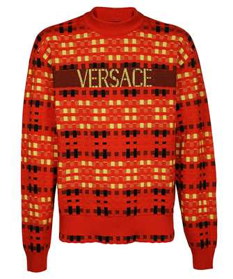 Versace 1001160 1A00789 LOGO TARTAN WOOL JACQUARD Knit
