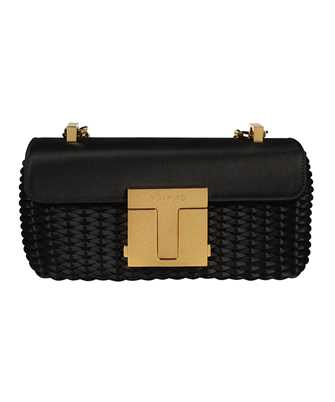 Tom Ford L1436T ISA017 WOVEN SATIN 001 CHAIN MEDIUM SHOULDER Bag