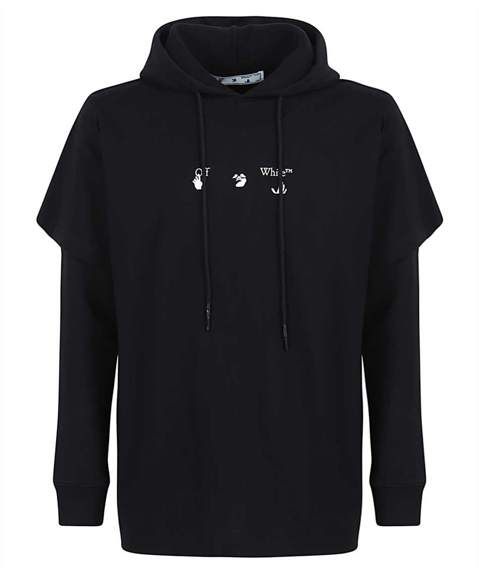Off-White OMBB051S21FLE001 BLUE MARKER DOUBLE SLEEVE Hoodie 1